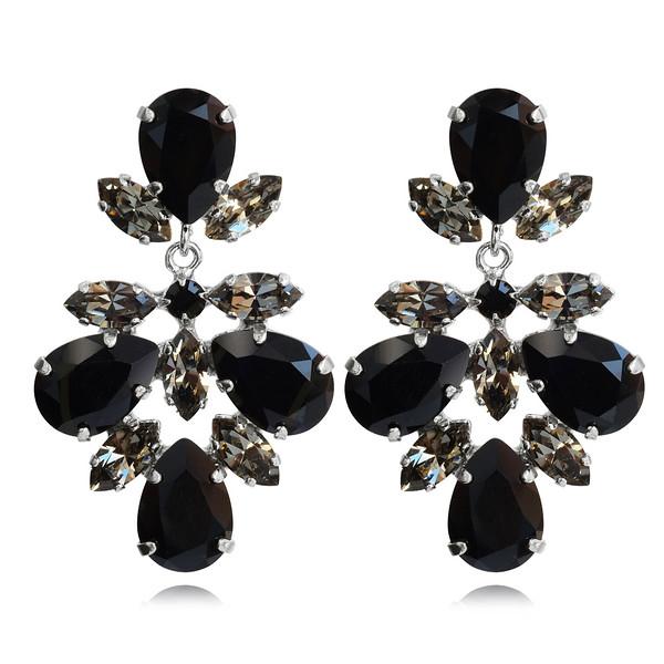 Selene Earrings / Jet + Black Diamond / Rhodium