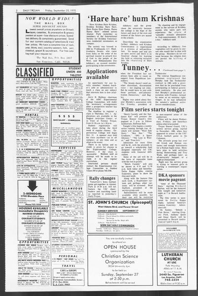 Daily Trojan, Vol. 62, No. 5, September 25, 1970