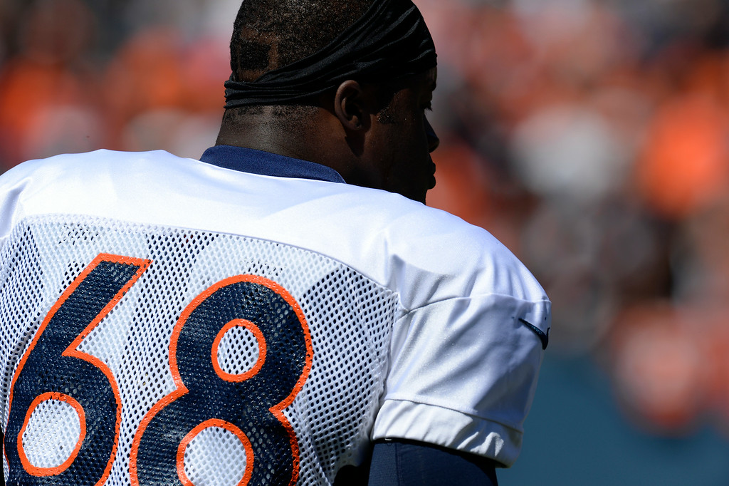 . Denver Broncos DT, Kenny Anunike, before practice and scrimmage at Sports Authority Field at Mile High Saturday afternoon, August 02, 2014. (Photo By Andy Cross / The Denver Post)