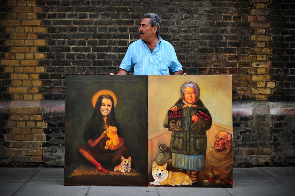 . Artist Kaya Mar poses with paintings of Britain\'s Queen Elizabeth II (R) and Catherine (L), Duchess of Cambridge, outside the Lindo Wing of Saint Mary\'s Hospital in London, on July 12, 2013, where Prince William and his wife Catherine\'s baby will be born. Britain\'s royal family and the world\'s media are on tenterhooks awaiting the birth of Prince William and wife Catherine\'s first child, a baby who will one day be king or queen of Britain and a diverse group of commonwealth countries.  CARL COURT/AFP/Getty Images