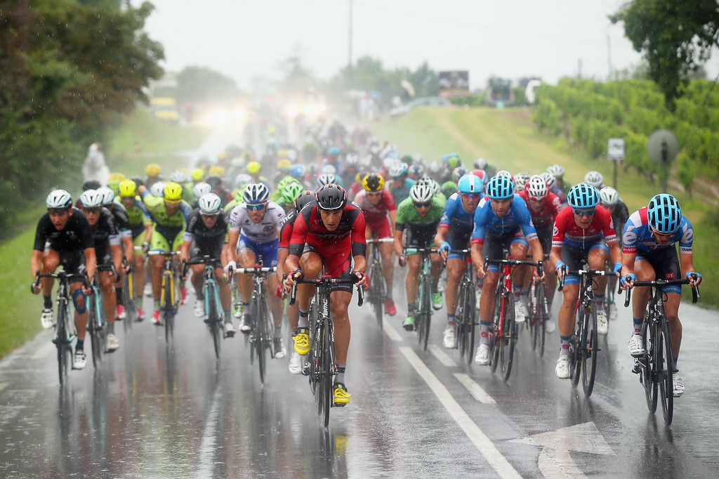 . Marcus Burghardt of Germany and BMC Racing Team (C) leads the bunch  during the nineteenth stage of the 2014 Tour de France, a 208km stage between Maubourguet Pays du Val d\'Adour and Bergerac, on July 25, 2014 in Bergerac, France.  (Photo by Bryn Lennon/Getty Images)