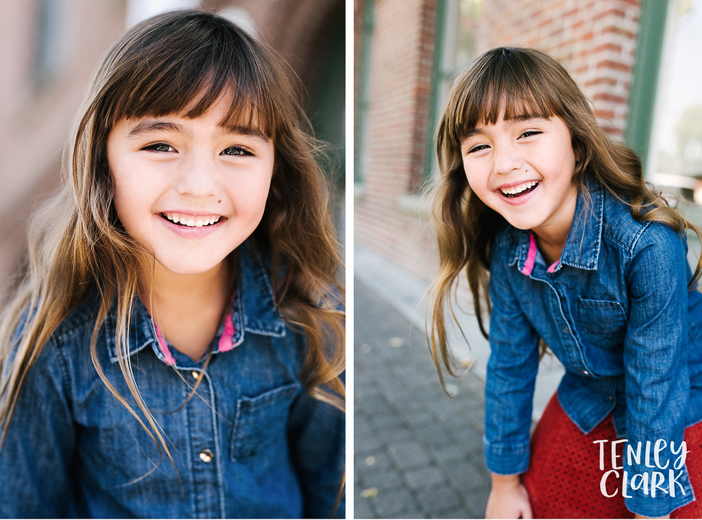 Downtown Pleasanton, CA kids model headshots for JE Model by Tenley Clark Photography. Layla brick wall.