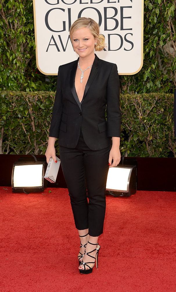 Description of . Actress Amy Poehler arrives at the 70th Annual Golden Globe Awards held at The Beverly Hilton Hotel on January 13, 2013 in Beverly Hills, California.  (Photo by Jason Merritt/Getty Images)