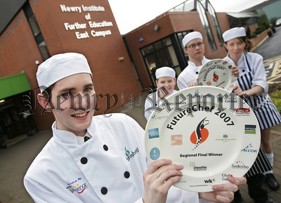 Stephen McFarland from St Mary's College, Irvinestown who was the winner of this years Champion School Chef. Also pictured are the runners up Scott Lowry, Ryan McMenamin and Natasha Lynn. 07W6N10