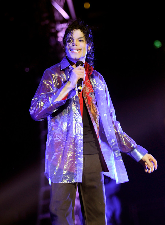 . In this June 23, 2009 handout photo provided by AEG, pop star Michael Jackson rehearses at the Staples Center in Los Angeles.  (AP Photo/ Kevin Mazur, AEG/Getty Images, File)