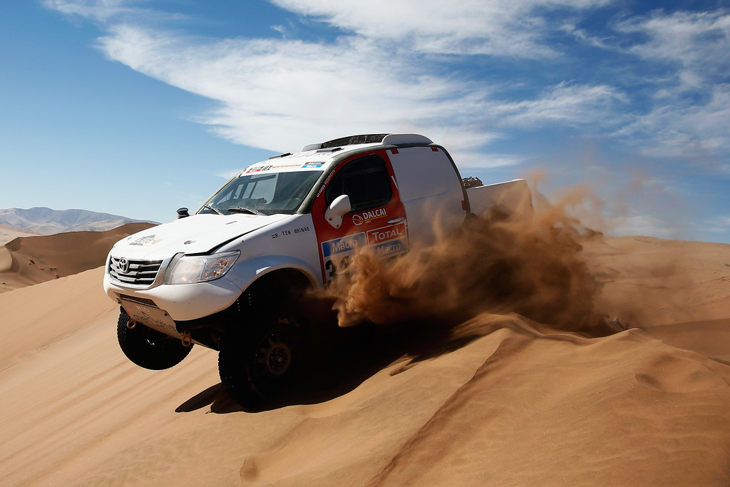 . COPIAPO, CHILE - JANUARY 07:  #315 Ten Brinke Bernhard of the Netherlands and Tom Colsoul of Belgium for Toyota Overdrive Hiluz compete during day 4 of the Dakar Rallly on January 7, 2015 between Chilecito in Argentina to Copiapo, Chile.  (Photo by Dean Mouhtaropoulos/Getty Images)