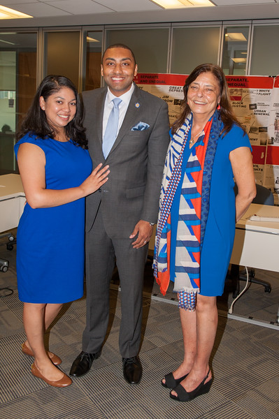 New York State Senator Jamaal T. Bailey(middle) Wife Mara(left) Dean Mary Lu Bilek (right)