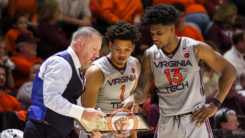 Buzz Williams diagrams a play for Tyrie Jackson and Ahmed Hill at the end of the game. The Hokies lost to FSU 91-82. (Mark Umansky/TheKeyPlay.com)