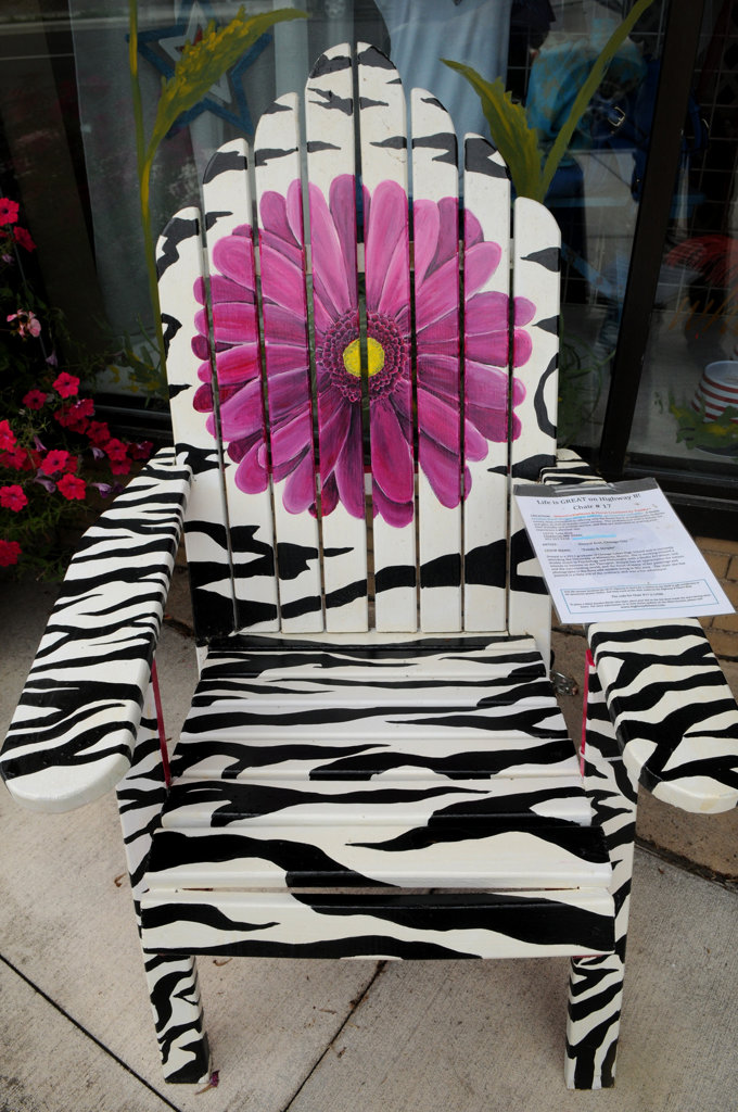 """. \""""Petals & Stripes\"""" by Donyal Eret is part of the Highway 8 Chairs project in Chisago County. (Pioneer Press: Jean Pieri)"""