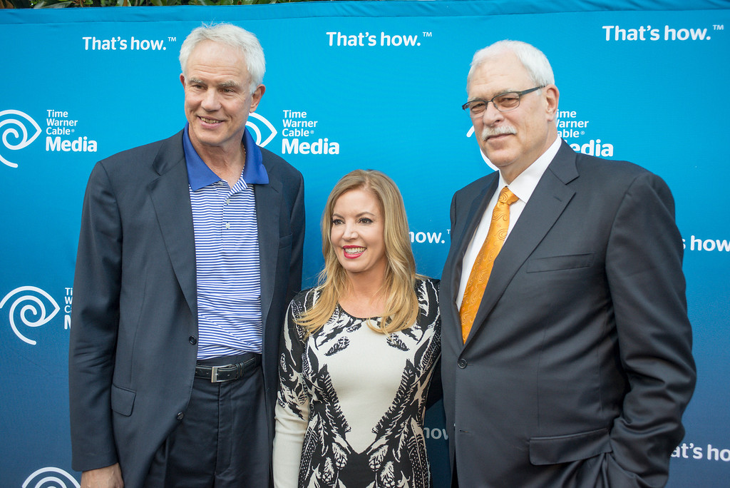 . Mitch Kupchack, Jeanie Buss and Phil Jackson at a Time Warner event to honor the late Jerry Buss in Los Angeles.  Photo by David Crane/Los Angeles Daily News