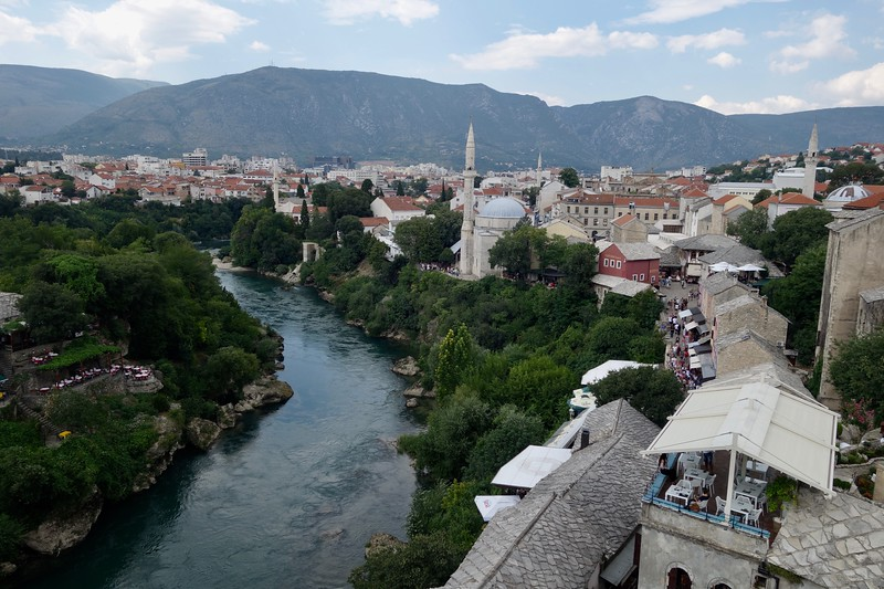 view of Mostar from the bridge tower
