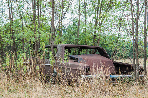 Not the final resting place; eventually this prime piece of this field will be cleared and this rural relic sent off to be recycled.