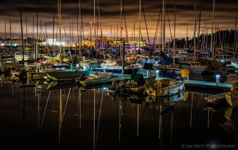 Eagle Harbor marina, Bainbridge Island on a calm winter night.