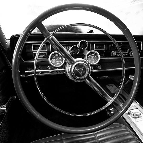 Steering and dash of the 1966 Coronet 500 426 Hemi car