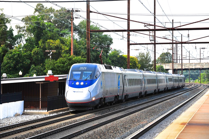 Running a little behind, car 2029 leads Acela 2165 through Odenton en route to Washington, DC