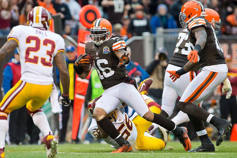 . Wide receiver Josh Cribbs #16 of the Cleveland Browns runs for a gain during the first half against the Washington Redskins at Cleveland Browns Stadium on December 16, 2012 in Cleveland, Ohio. (Photo by Jason Miller/Getty Images)