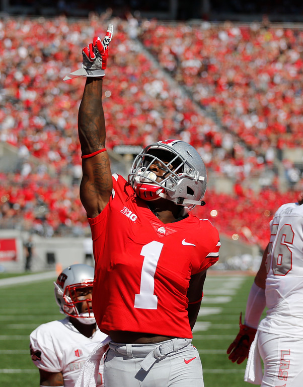 . Ohio State receiver Johnnie Dixon celebrates his touchdown against UNLV during the first half of an NCAA college football game Saturday, Sept. 23, 2017, in Columbus, Ohio. (AP Photo/Jay LaPrete)