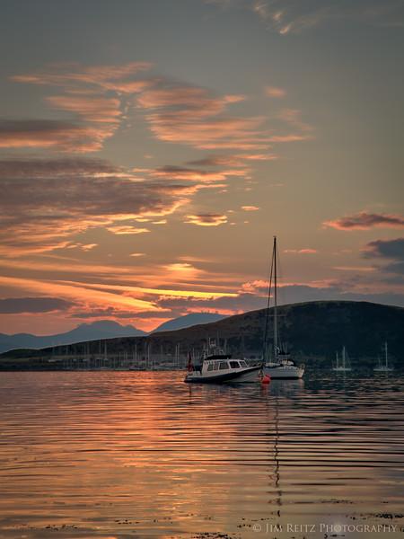 Sunset - Oban harbor, on Scotland's west coast.