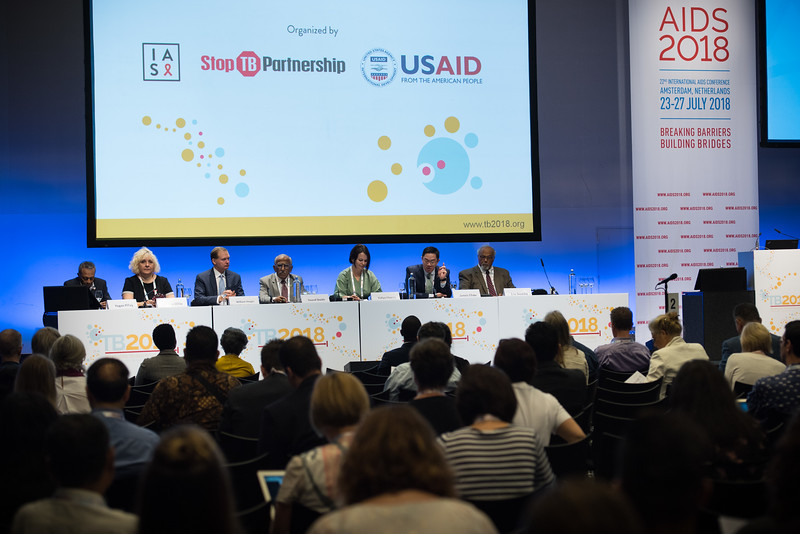 22nd International AIDS Conference (AIDS 2018) Amsterdam, Netherlands   Copyright: Marcus Rose/IAS  Photo shows: TB 2018: Bridging the TB and HIV Communities. Discussion: Towards the UN High-Level Meeting on TB L_R: Yogan Pillay, National Department of Health, South Africa.  Lucica Ditiu, Stop TB Partnership, Switzerland. William Steiger, USAID, United States. Yousaf Shaikh, National Ministry of Education, Pakistan. Yuliya Chorna, Alliance for Public Health, Ukraine. James Chau, China Central Television, China. Eric Goosby, United Nations Special Envoy on Tuberculosis, United States.