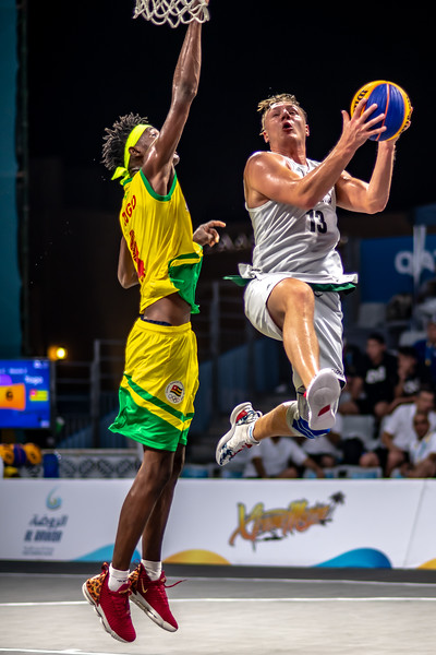 Togo and Slovenia in action during day one of the International 3x3 Basketball Tournament during the 1st ANOC World Beach Games at Katara on October 13, 2019 in Doha, Qatar. Photo by Tom Kirkwood/SportDXB