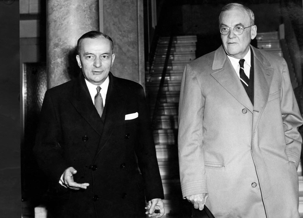 . 1954: John Foster Dulles. Leaving Anthony Eden\'s hotel after lunching with him to go to the second session of the Geneva Peace Conference on April 27, 1954 are French Foreign Minister Georges Bidault, left, and US Secretary of State, John Foster Dulles. (AP Photo)