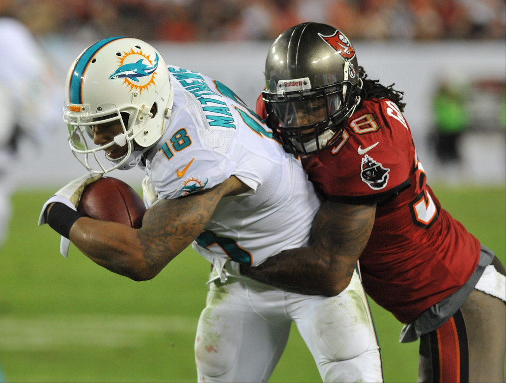 . Safety Dashon Goldson #38 of the Tampa Bay Buccaneers tackles 2ide receiver Rishard Matthews #18 of the Miami Dolphins November 11, 2013 at Raymond James Stadium in Tampa, Florida. Tampa won 22 - 19.  (Photo by Al Messerschmidt/Getty Images)