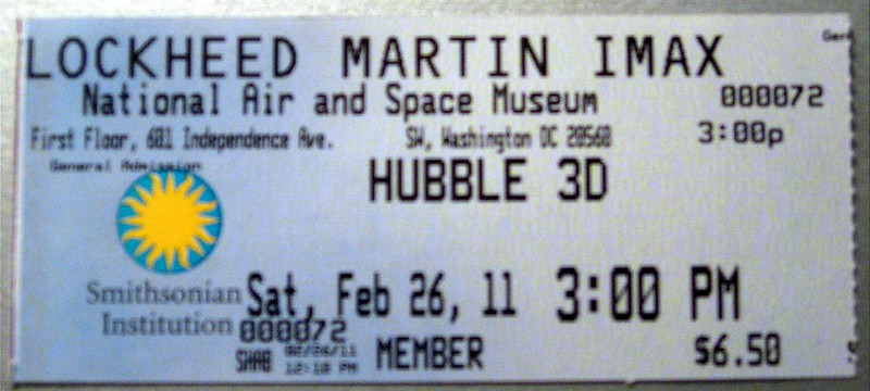 Nearly two years after the launch, I finally got to see Hubble 3D at the Smithsonian's National Air and Space Museum.  Unfortunately, I was a few inches to the right of the section of the bleachers featured in the film.