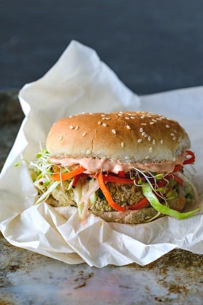 (c) Killing Thyme http://www.killingthyme.net/2017/02/09/white-bean-burger-sesame-ginger-slaw-gochujang-yogurt-spread/