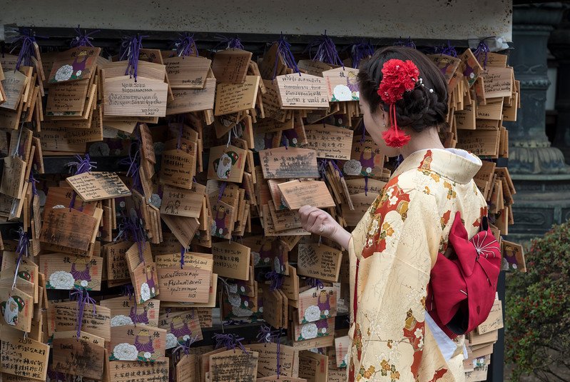 Woman dressed in traditional kimono looks at Ema wish plaques at Ueno Toshogu Shrine, Tokyo, Japan
