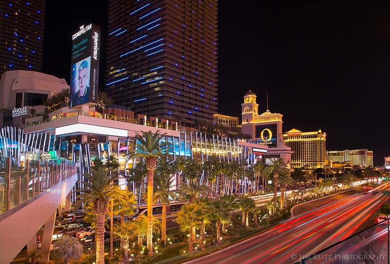 A busy Las Vegas Boulevard at night.