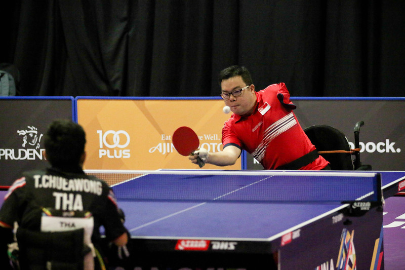 PARA TABLE TENNIS -  CHEE WENG FAI JASON  in action & representing Singapore in Men Individual Class 2 Round-Robin at MITEC Hall 7, KL on September 22th, 2017 (Photo by Sanketa Anand)