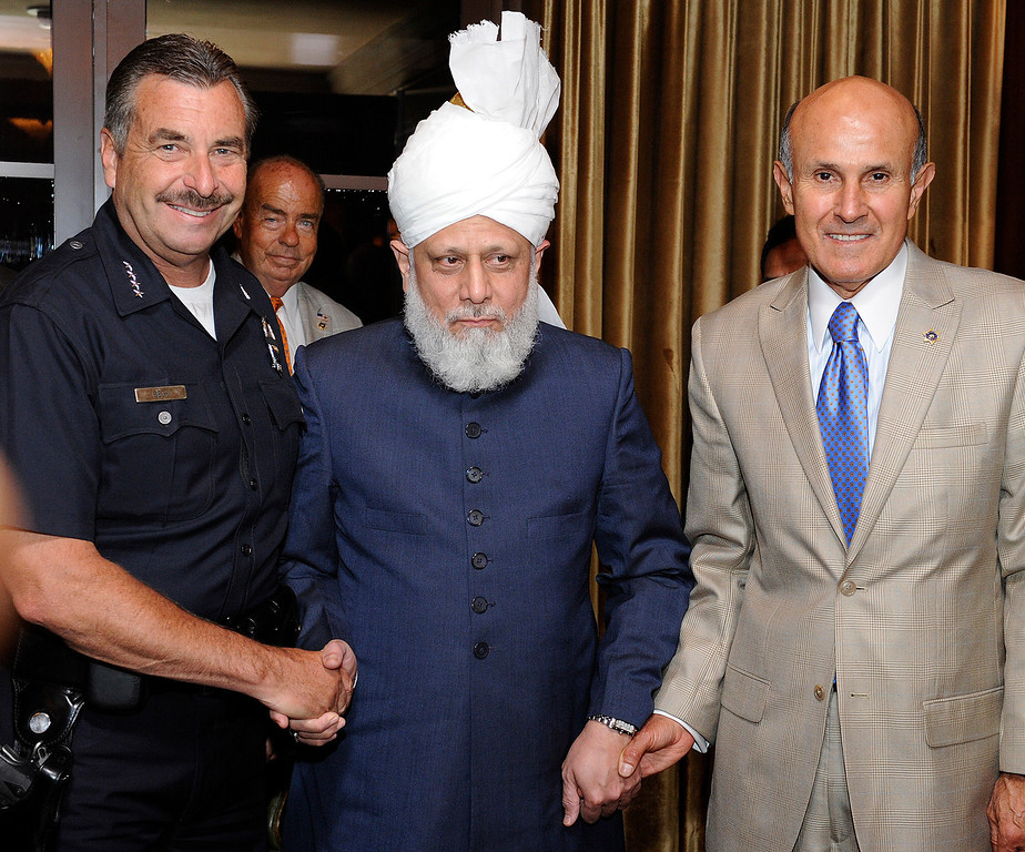 . Chief of Police Charlie Beck and LA County Sheriff Lee Baca with Mirzra Masroor Ahmad Khalifatul Masih V. In his first trip to the West Coast, His Holiness Mirzra Masroor Ahmad Khalifatul Masih V visited the Montage Hotel where he met with leaders from around the Southland.  Spending more than a week in California, Mirzra Masroor Ahmad Khalifatul Masih V, is considered the leader of the Muslim world. Beverly Hills, CA 5/11/2013(John McCoy/LA Daily News)