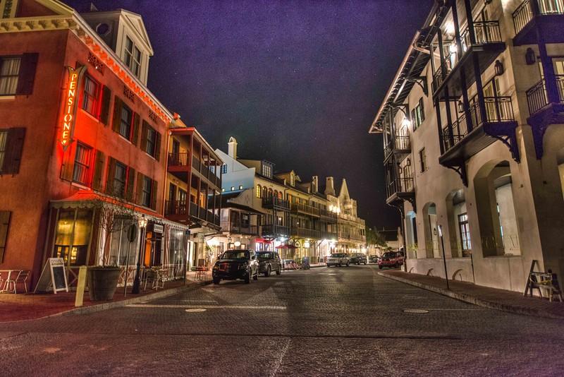 Rosemary Beach Street at Night