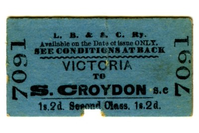 LBSCR 2nd class single tickets