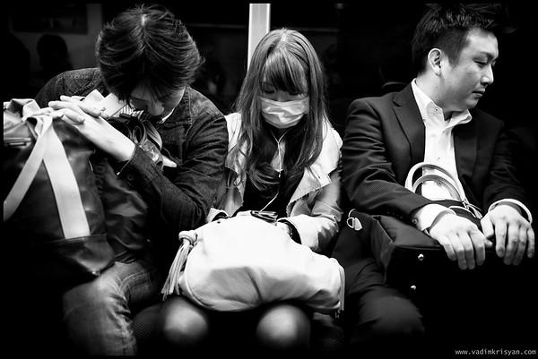 Sleeping in the Subway, Tokyo, 2014