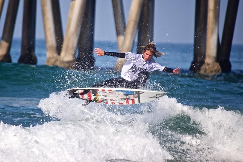 Pro surfer Aryn Farris surfing Huntington Beach.