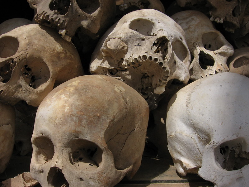Skulls in the Buddhist Memorial at The Killing Fields