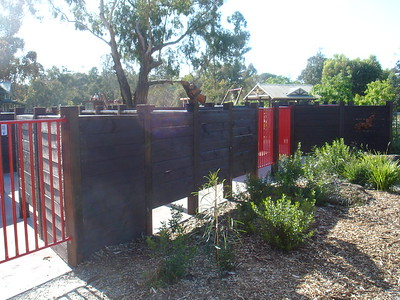 timber fencing around maze