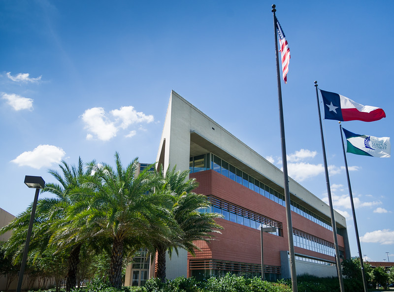 The Texas A&M University Corpus Chrsti flag flies proudly outside of the North side of the O'Connor building on a beautiful fall day