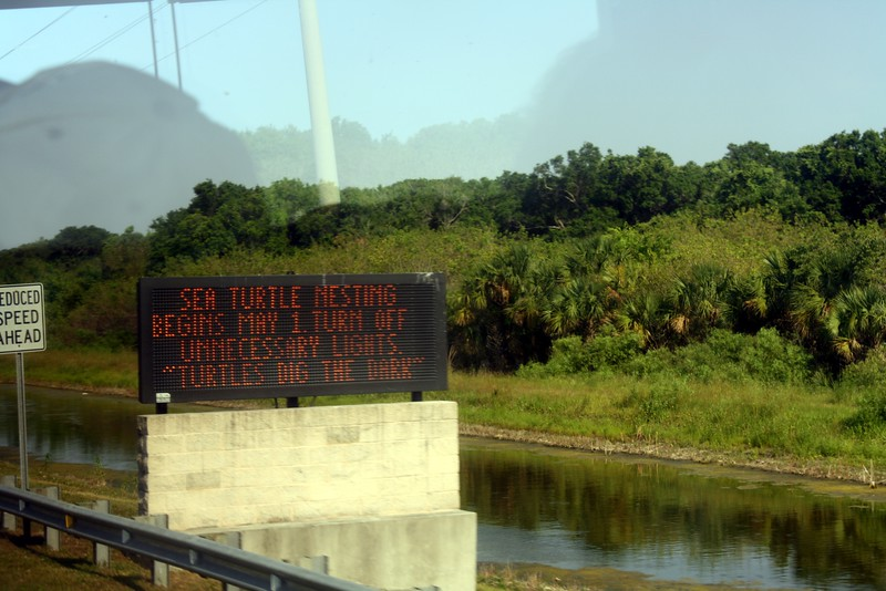 Sign protecting sea turtles at the Kennedy Space Center