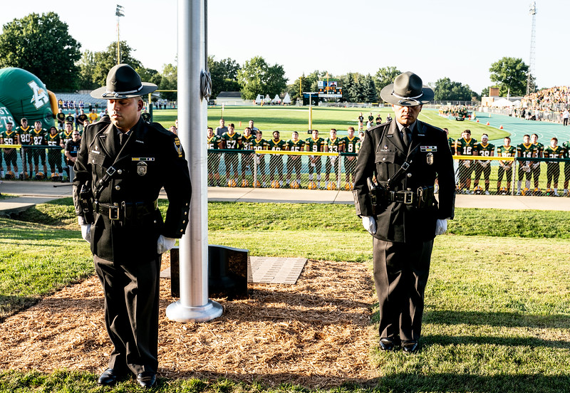 State Highway Patrol Honor Guard after raising the newly revealed flag for fallen officers and in honnor of Kenny Velez.jpg