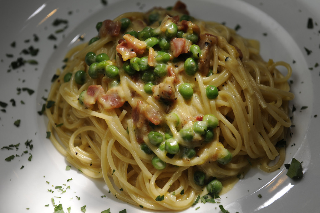 . Pasta carbonara for a dining review of the newly remodeled Gaetano\'s in NW Denver at Tejon and W. 38th Ave on Tuesday, December 4, 2012.   Cyrus McCrimmon, The Denver Post