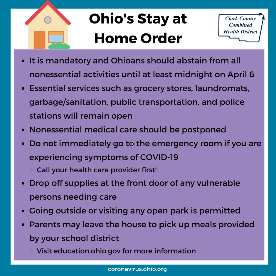 Ohio's Stay at Home Order, as of March 30, 2020