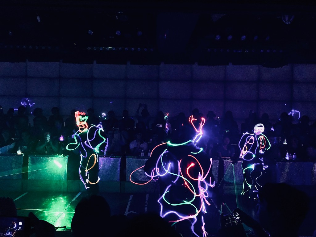 Laser dancing in the dark.