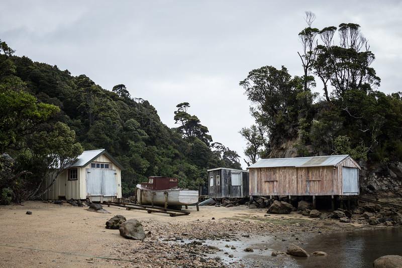 Boat sheds at Golden Bay, Rakiura