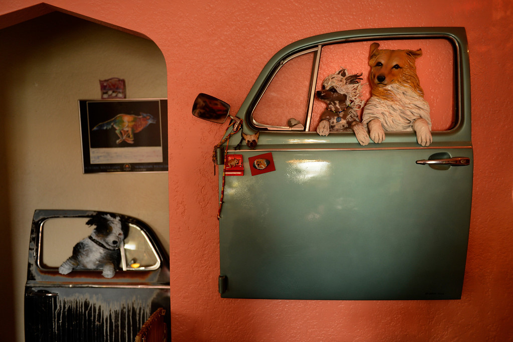 . Edgewater, CO. - January 28:  VW door sculptures made by artist Dede LaRue in her home studio in Edgewater, Colorado. January 28, 2013. (Photo By Joe Amon / The Denver Post)