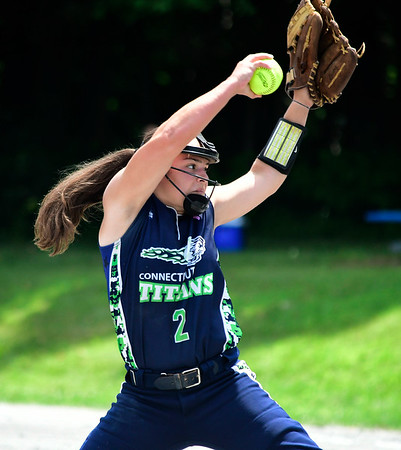 7/28/2018 Mike Orazzi | Staff CT Titans Softball's Nicole Antonowicz (2) Saturday morning at Sage Park in Berlin.