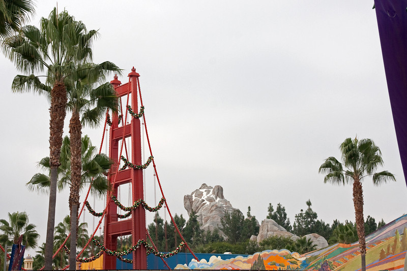 Looking in towards California Adventure. In theory, the golden gate bridge will be going away.
