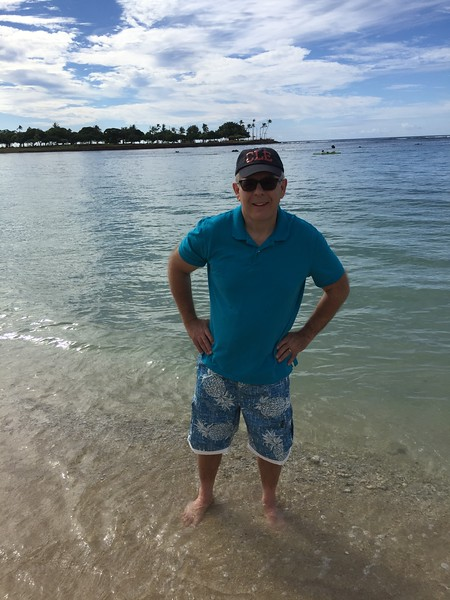 John standing in the pacific at Ala Moana Beach Park
