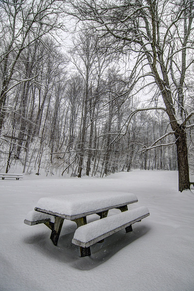 A heavy snow covers the tables at the picnic area at South Holston Dam in Bristol, TN on Thursday, February 13, 2014. Copyright 2014 Jason Barnette